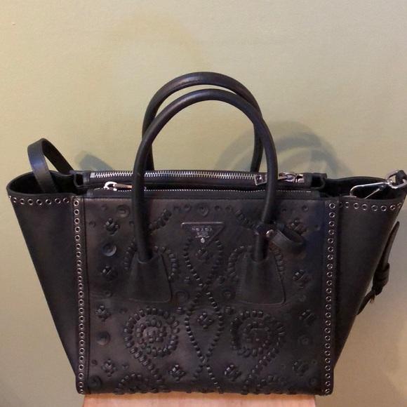 f518c0bab930 Prada Bags | Last Chance Black Saffiano Embroidered Tote | Poshmark